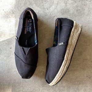 BOBS by Skechers Black Flatforms Slip-ons Loafers